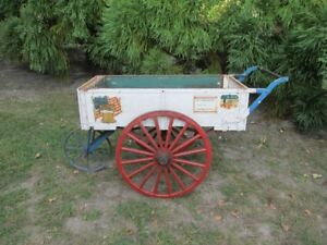 Antique Philadelphia Pa Wood Wagon 3 Wheel Vegetable Flower Cart