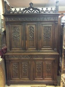 Antique 19th Century Gothic Revival Bookcase Cabinet Solid Oak