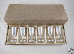Set 6 Boxed Vtg Web Sterling Silver Footed Gold Washed Cordial Shot Glasses 153g