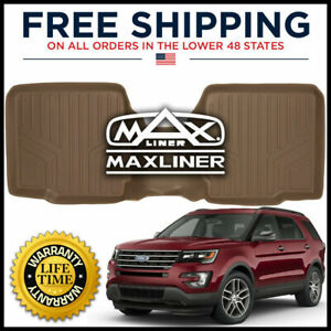Maxliner 2011 2017 Ford Explorer 2nd Row W Console All weather Floor Mat Tan