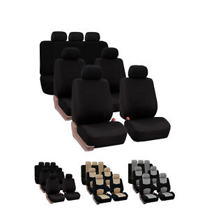 3 Row 7 Seaters Seat Covers For Suv Van Flat Cloth Universal Fitment Covers Set