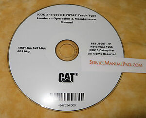 Sebu7087 Cat Caterpillar 933c 939c Track Loader Operation Maintenance Manual Cd