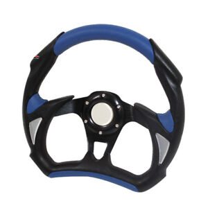 Blue Racing Car Steering Wheel 320mm Battle Style With Functional Horn Button