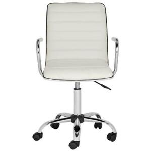 Executive Office Desk Computer Task Chair 5 wheels White Faux Leather Ergonomic