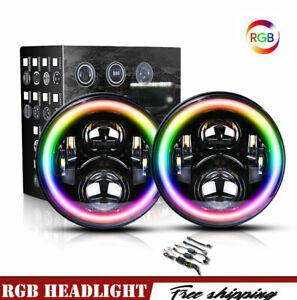Dot 7 Inch Rgb Round Led Headlights Halo For Jeep Jk Tj Lj Wrangler 97 18