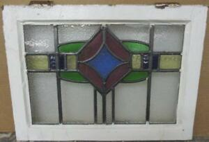 Old English Leaded Stained Glass Window Stunning Colorful Band Design 22 X 16