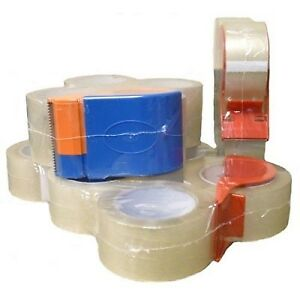 4 Rolls Carton Sealing Tape 3 inch X 55 Yards 2 Mil Small Pack With Dispenser