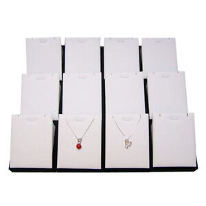 12pcs Jewelry Display Stand Holder Rack For Necklace Pendant Exhibitor White Pu