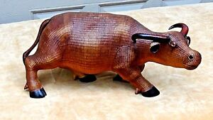 Antique Chinese Very Rare Woven Ratan Ox Statue With Carved Wood Horns And Feet