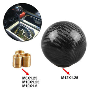 Universal Black Carbon Fiber Gear Shift Knob Round Ball Shape For Universal Car