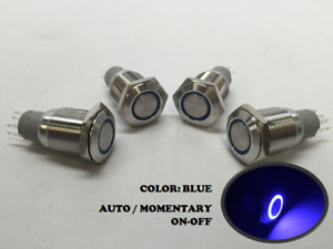4 Of Marine Ss304 Blue Led Ultra Flush Light Auto On off Push Switch Ring Button