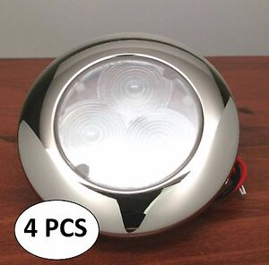 4pcs Marine Trailer Rv Boat Led White Ceiling Courtesy Light S s Flush Mount