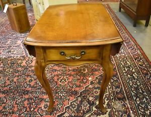 Vintage Ethan Allen Solid Cherry Drop Sides End Table Nightstand Queen Anne Legs