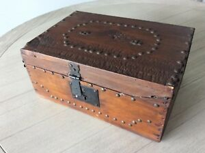 Antique Wood Document Bible Box W Key Distressed Nails Old Wallpaper