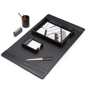 Black Leather 6 Pc Desk Set