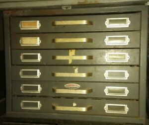 Vintage Neumade 6 Drawer Steel Cabinet with 22 Dividers