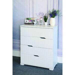 Spacious White Finish Chest With 4 Tier Storage Drawers