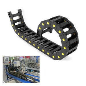 2pieces Plastic Cable Chain Traction Wire Carrier Drag Chain Nylon Pa66 1m Black