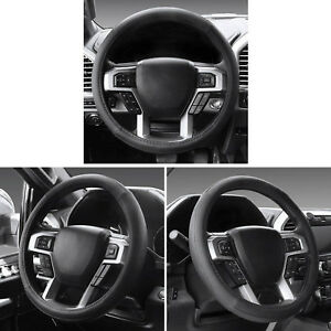2pcs Black Soft Thin Leather Car Steering Wheel Cover needle Thread Best Match