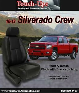 2010 2013 Chevrolet Silverado Lt Crew Cab Katzkin Black Leather Seat Covers Kit