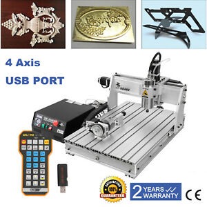 4 axis 6040 Desktop 1 5kw Cnc Router Engraving Milling Machine Remote Control
