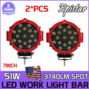 2x 7inch 51w Round Off Road Led Work Lights Spot Beam Truck Bumper Driving Red