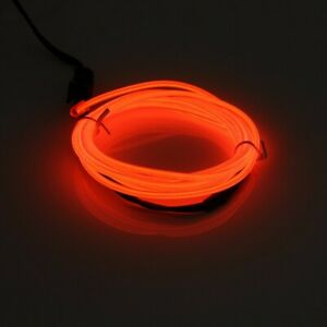 2m Red El Wire Car Interior Decor Fluorescent Neon Cold Strip Light Universal