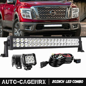 120w 20 Led Light Bar W 4 Pods Lamps brackets wiring For 17 Nissan Titan