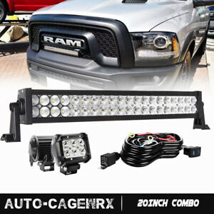20 120w Led Light Bar W Front Mounting Brackets Wire For Dodge Ram Rebel