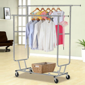 Hot Garment Double Rail Clothing Garment Rolling Collapsible Rack Hanger Us