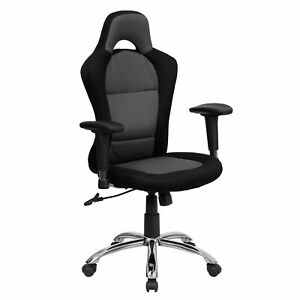Race Car Design Swivel Adjustable Office Chair Upholstered In Grey And Black
