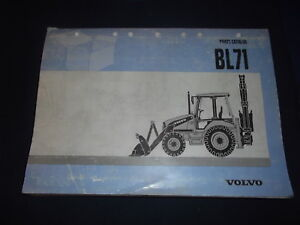 Volvo Bl71 Backhoe Loader Parts Manual Book Catalog