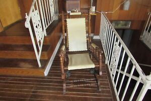 Antique Jas Schoolbred Co Solid Wood Spindle Style Spring Rocking Chair 1764