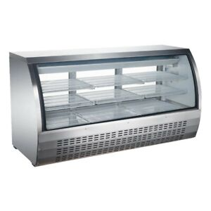Peakcold 82 Curved Glass Refrigerated Deli Case Stainless Steel Meat Showcase