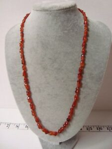 Vintage Chinese Carnelian Red Agate Necklace With Silver Filigree Clasp