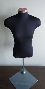 Male Dressing Mannequin Torso In Black Fabric On Stand