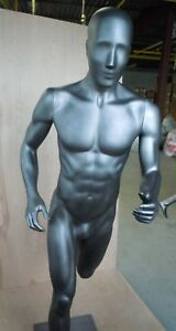 Male Mannequin Full Body Running Pose In Dark Silver North Face