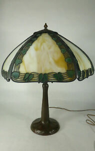 Handel Teroca Filigree Panel Lamp W Handled Bronze Base Circa 1915