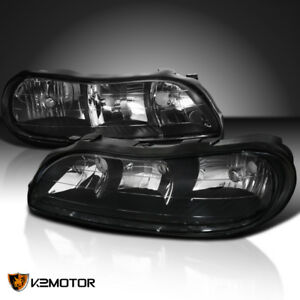 1997 2003 Chevy Malibu Black Replacement Headlights Clear Corner Lamps Pair