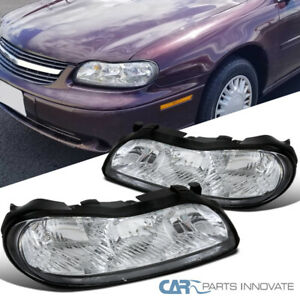 For 97 03 Chevy Malibu Crystal Clear Lens Headlights Head Lights Lamps Pair