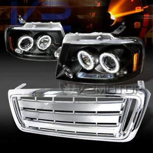 Fit 2004 2008 Ford F150 Black Halo Projector Headlights chrome Front Hood Grille