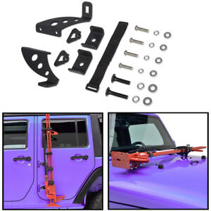 Hi lift Jack Mount Side Front Hood Hinge Bracket Kit For 2007 2017 Jeep Wrangler