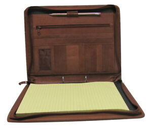 Brown Real Leather A4 Folder Portfolio Option To Personalise H0100 2 Ring Binder