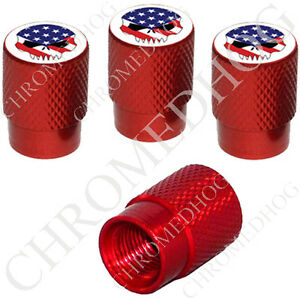 4 Red Billet Aluminum Knurled Tire Air Valve Stem Caps Usa Flag E Skull White