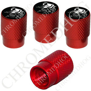 4 Red Billet Aluminum Knurled Tire Air Valve Stem Caps Zodiac Aquarius Sign Wb
