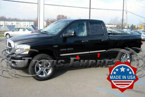 Fit 2002 2008 Dodge Ram Quad crew Cab 4pc Flat Body Side Molding Trim 2
