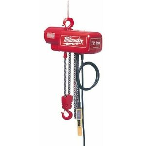 Milwaukee 9566 1 Ton Electric Chain Hoist 10 Ft