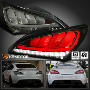 Smoke For 2010 2016 Hyundai Genesis Coupe 2dr Led Sequential Tail Lights Lamps
