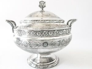 Antique Victorian Silverplate Soup Tureen Bowl Aesthetic Victorian 1800s