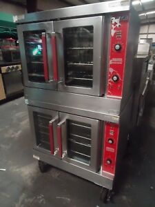 used Vulcan Vc4gd 10 Double Stack Convection Oven Natural Gas Casters